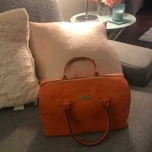 kate spade Bags - Kate Spade Orange Ostrich with Gold trim